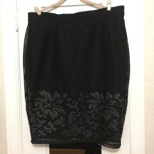 City Chic Black Netted Net Sheer Skirt Pleather